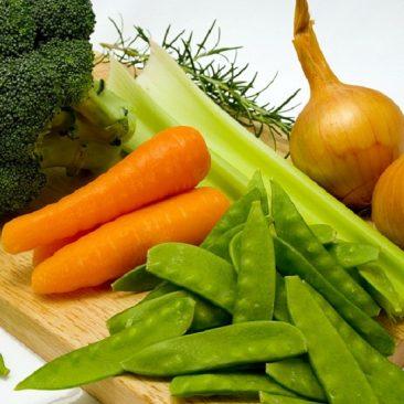 carrots, peas, celery